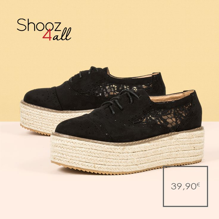 Μαύρα flatforms με δαντέλα. #shooz4all #flatforms #dantela