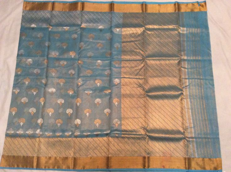 Blue pure zari tissue kota-