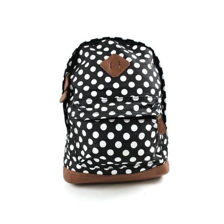 Black & White Polka Dot Backpack