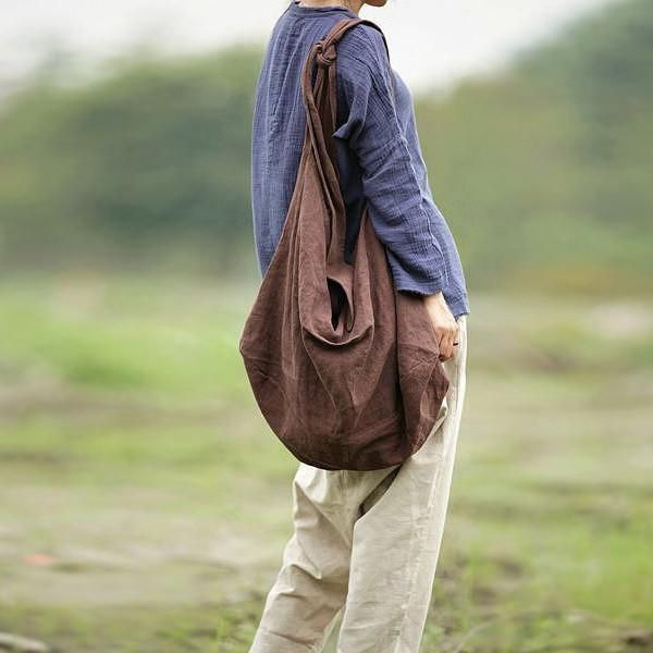 Women Linen Cotton Backpack