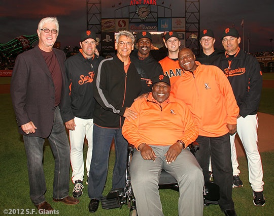 2012 Willie Mac Award recipient Buster Posey with former winners; Mike Krukow, J.T. Snow, Dave Dravecky, Shawon Dunston, Willie McCovey, Buster Posey, Mike Felder, Matt Cain and Mark Gardner