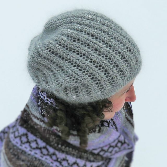 Say hello to your new favourite hat! Harmonium hat combines perfect elements to create a light and drapey hat that you will never want to take off. For a real lacey treasure, use luxury yarns with a bit of fuzz and sparkle.