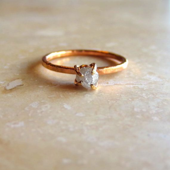 Natural, rough uncut white diamond is set into a hand fabricated solid 14k gold setting with recycled gold base, affixed to your choice of 14k