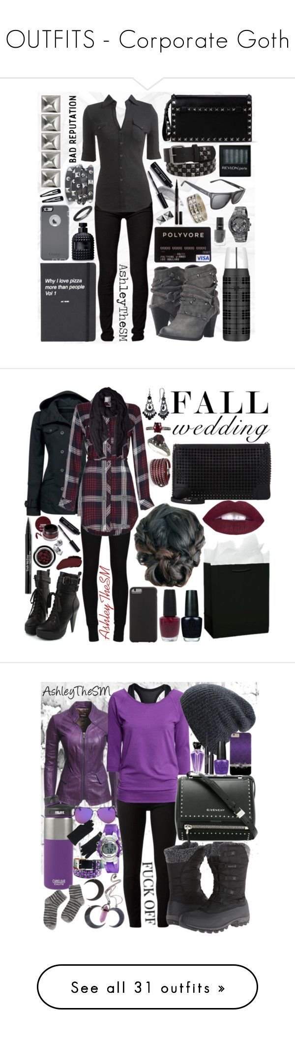 """""""OUTFITS - Corporate Goth"""" by ashleythesm on Polyvore featuring Levi's, Bobbi Brown Cosmetics, Valentino, Arden B., Not Rated, Derek Cardigan, Elizabeth Arden, OtterBox, Revlon and GUESS"""