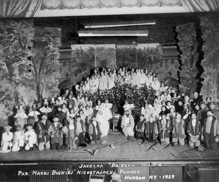 #LoveTheatre 1929 Nativity Pageant upstairs at the Hudson Opera House, New York State's oldest surviving theater.  The expanded stage and elaborate sets and large casts indicative of changing trends in entertainments.  Check out live immersion theater at Hudson Opera House's annual sponsored event Winter Walk, December 6, 5-8 pm  (Image courtesy Hudson Opera House, Hudson, NY)