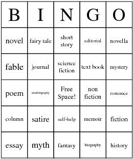 Types of Literature Bingo Card - create your own bingo games too