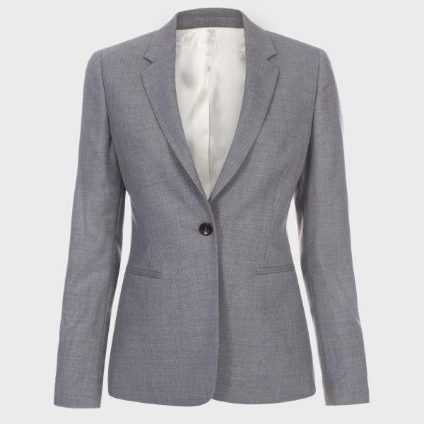 A Suit To Travel In   Women's Grey Wool Blazer
