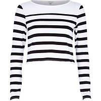 Raya blanca de manga larga blusa entallada