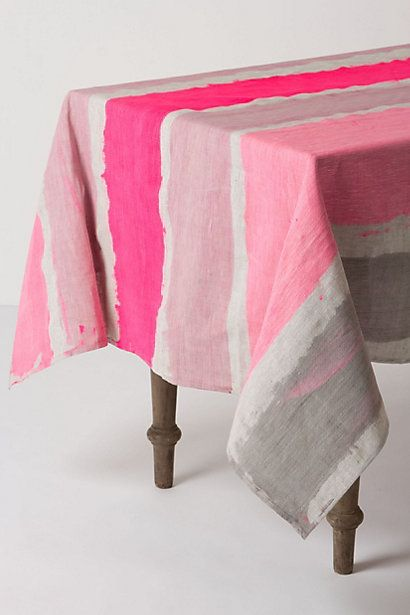painted tablecloth: Ideas, Pink Stripes, Paintings Tables, Bohemia Tablecloths, Colors, Fabrics, Tables Linens, Diy, Drop Clothing