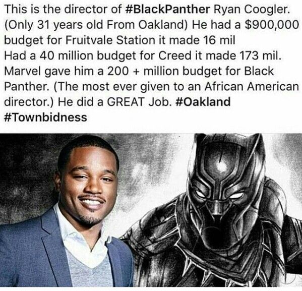 Ryan Coogler, Director of Black Panther (2018), and his many accomplishments with a marginal budget. Great Work!