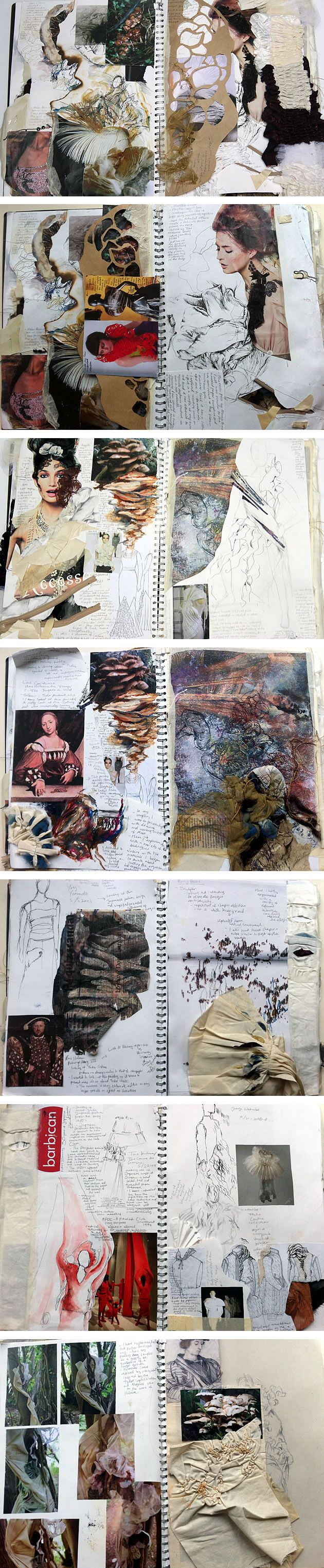 Fashion Textiles sketchbook.. i just think it looks like a vintage sketchbook because of the old autumn like colours, various textures, illustrations and typography.. a lush mash of everything!