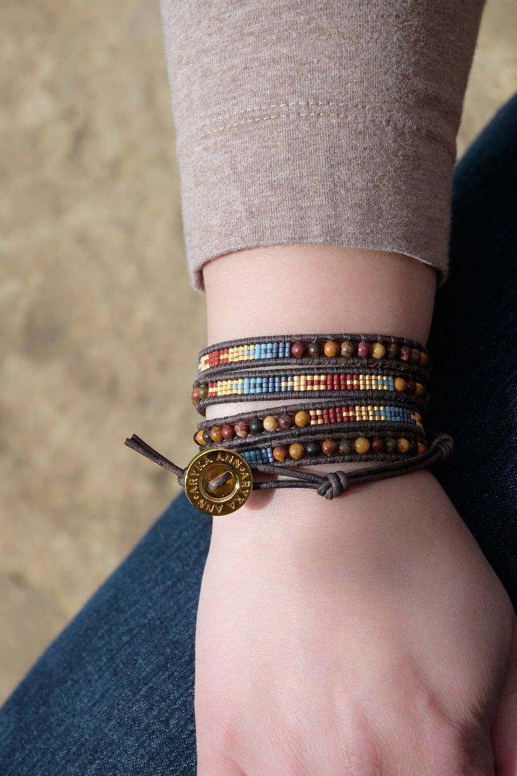 Cherry Creek Jasper & Seed Bead Wrap Bracelet, leather bracelet-beaded bracelet-boho bracelet-handmade bracelet-gemstone bracelet-boho chic by TheArykaAnnShop on Etsy https://www.etsy.com/ca/listing/502386125/cherry-creek-jasper-seed-bead-wrap