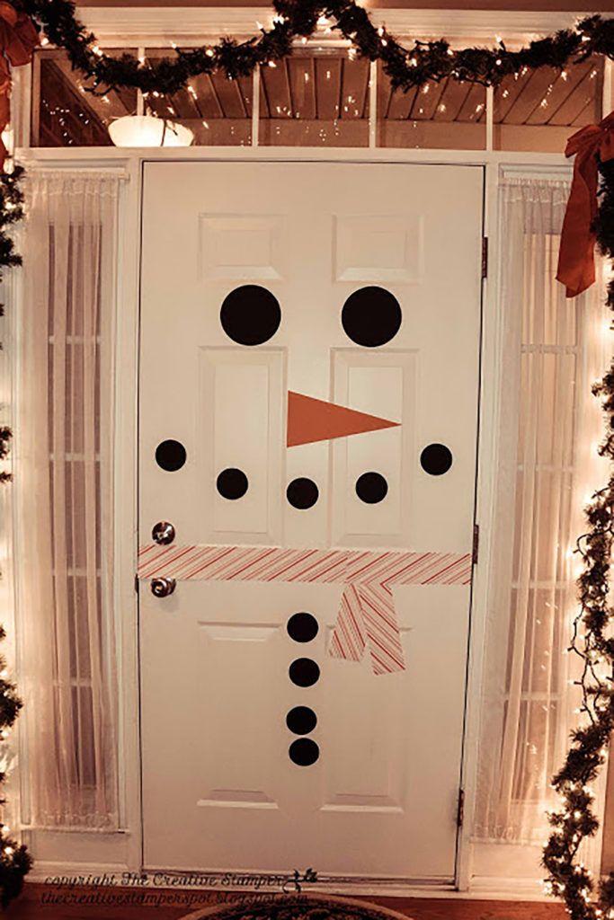 Diy snowman door decor