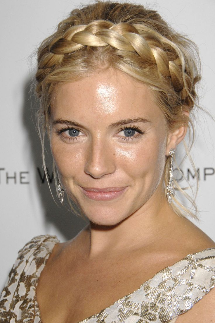 REALLY love this! Sienna Miller, Golden Globes 2007   Achieve this Heidi-inspired, ethereal style modelled by Sienna Miller at 2007's Golden Globe ceremony by investing in a faux hair braid that perfectly matches the hair's natural colouring. Fix over a loose, centre-parted bun and leave strands around the neck and face to soften the look.