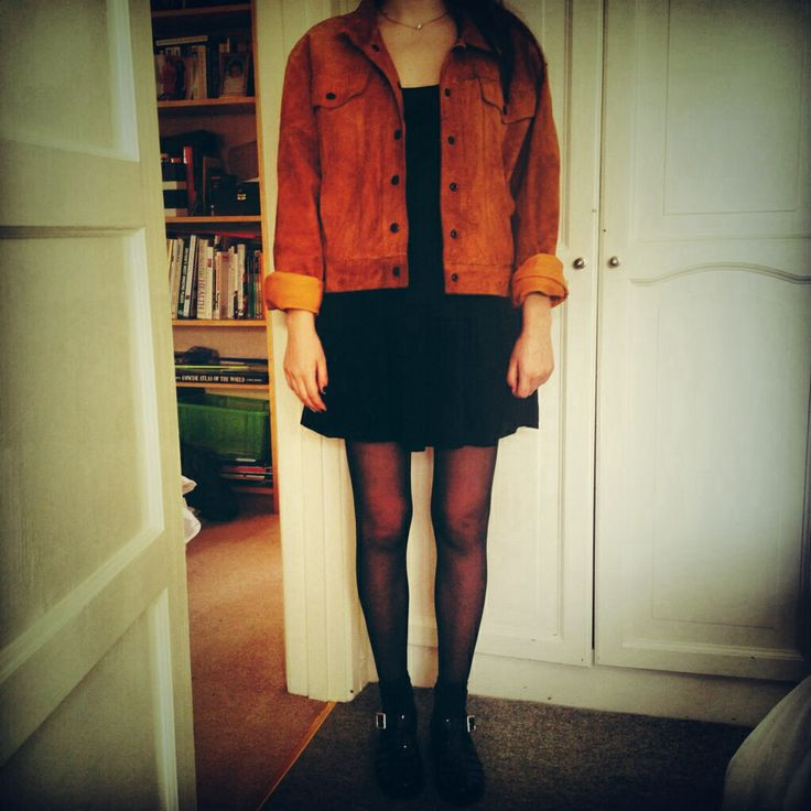 Vintage 80's suede jacket, topshop dress, PRIMARK jelly shoes