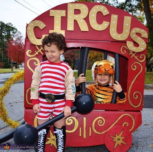 Amy: Our two sons, ages four and six, came up with a circus theme for our family costume. My husband is the ringmaster, and I am the contortionist. Our six-year-old son...