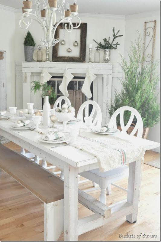 All white #Christmas table