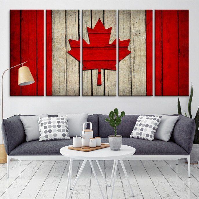 22674 - Large Wall Art Canada Flag Canvas Print-  Watercolor Flag of Canada Canvas Print- Modern XXL Large Wall Art Canada Flag Canvas Print