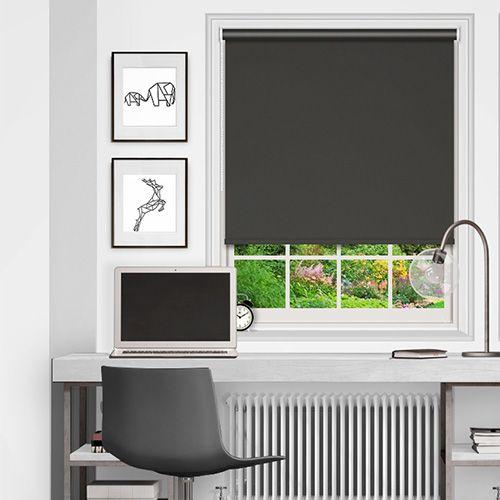 Popular plain blackout blind fabric in an ash grey colour