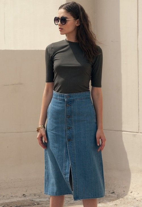 1ba4173265b5 midi button down skirt style - Google Search