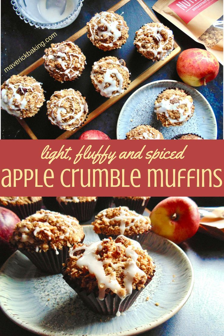 Spiced Apple Crumble Muffins; soft and fluffy cinnamon-spiked muffins full of soft chunks of apple, with a buttery granola crumble topping.