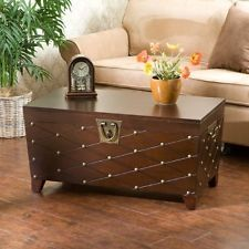 Cocktail Table Trunk Nailhead Espresso Transitional Style Mission Inspired NEW
