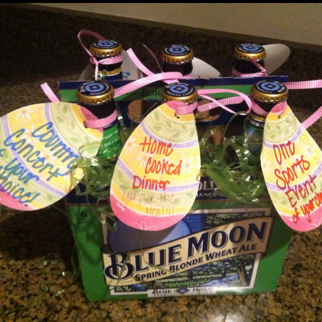 Easter egg hunt for a man!  Hide them in the yard and give him the box-basket for collecting