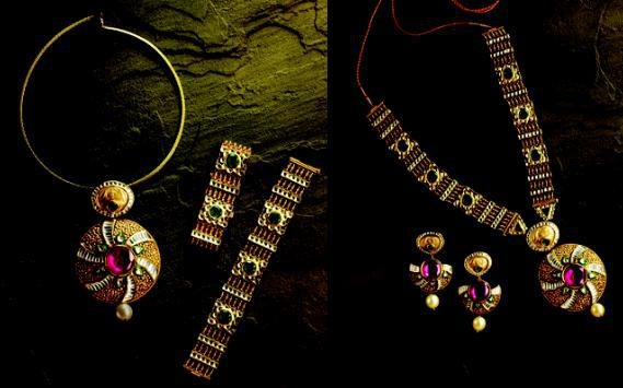 Gold and Diamond jewellery designs: Tbz detachable jewellery - dohra collection