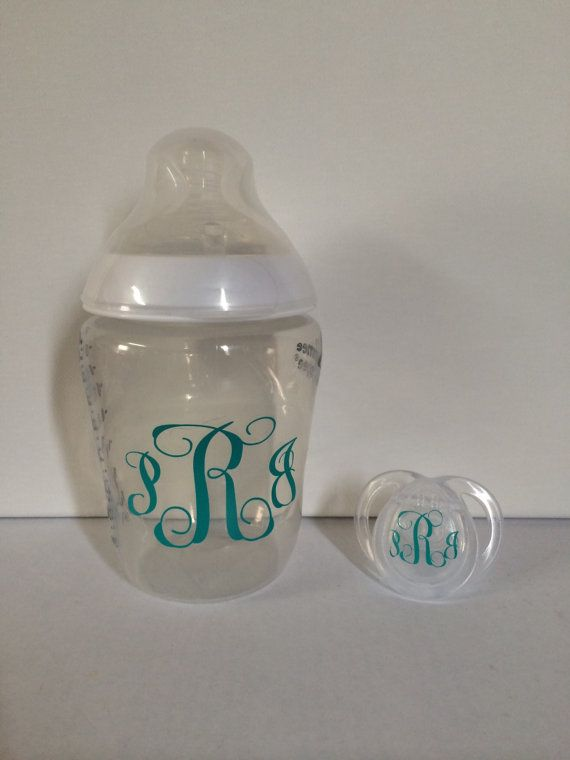 One baby bottle name or initial and one pacifier initial vinyl monogram. Vinyl monogram comes in your color and font of choice. Message me how you