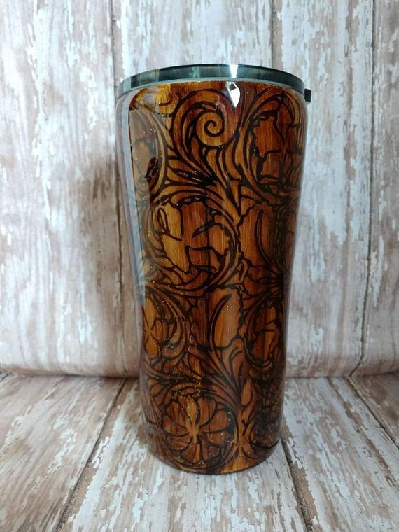 26ffb48e0c8 Leather inspired, faux leather tumbler, leather inspired tumbler, western  tumbler, leather inspired tool tumbler, tooled tumbler, stainless