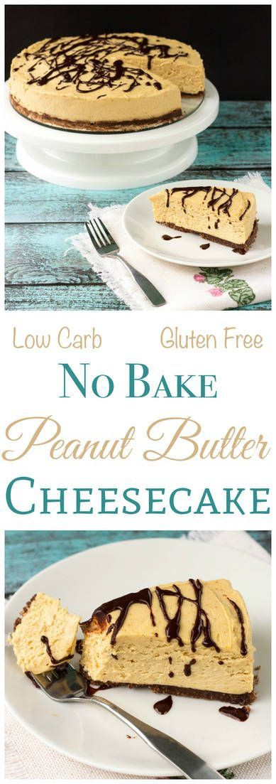 Enjoy this yummy low carb no bake peanut butter cheesecake any time of year. The gluten free crust is sweetened blend of almond flour, cocoa, and butter. Keto Sugar Free Banting Dessert! | LowCarbYum.com via @lowcarbyum