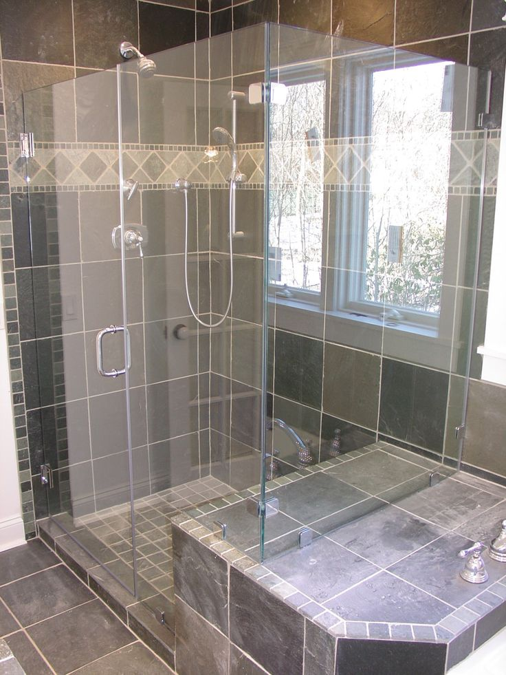 Nice Sophisticated Corner Shower Room Design With Glass Door And Dual .