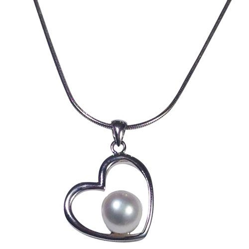 Love Heart Freshwater Cultured Pearl Heart Necklace with Sterling Silver Chain www.apassionforpearls.com