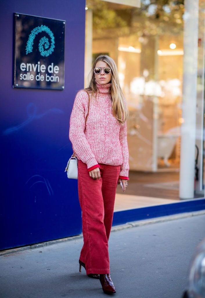 Paris France September 25 Monica Ainley Wearing Red Knit Louis
