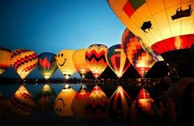 Hot air balloons about to leave the ground
