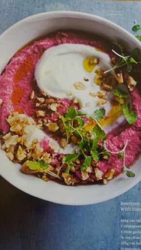 Beetroot and cumin hummus with toasted walnuts DH84 p48