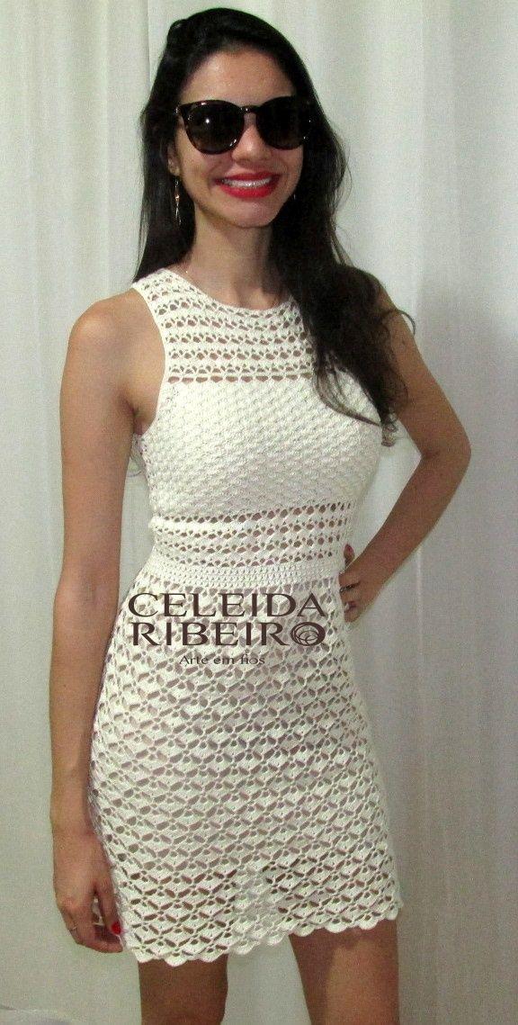 Celeida Ribeiro: Vestido em crochet!vestido de festa