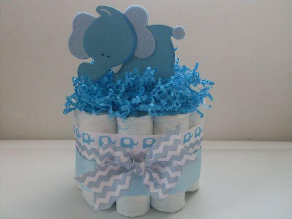 Mini elefante de pañales torta Chevron azul pastel de pañales, torta de pañales…