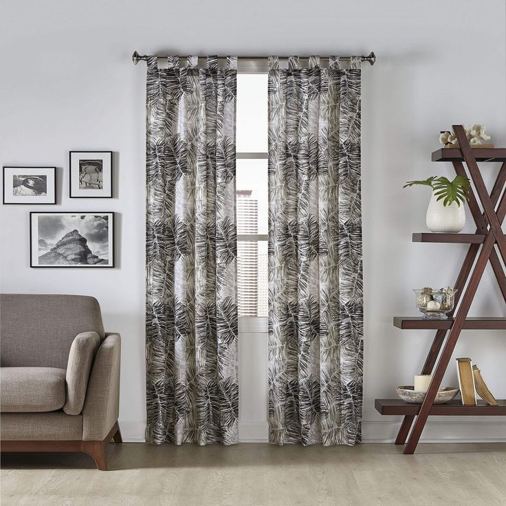 Pairs to Go Marley Tropical Window Curtain Panel Pair (60x84 - Grey) (Cotton Blend, Nature)