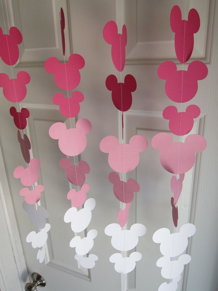 Pink Mouse Style Garland Strand, Birthday Party Decorations, Mickey Mouse Themed Party Decorations. $22.00, via Etsy.