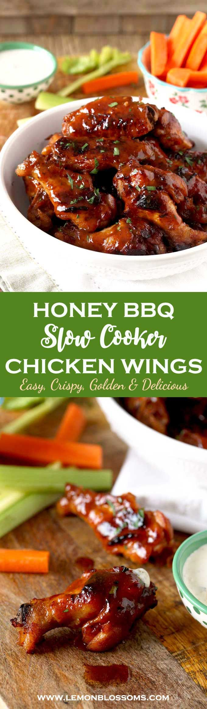 These Slow Cooker Chicken Wings are cooked in a tasty Honey BBQ sauce until fall off the bone tender. Quickly broiled until golden then served smothered in more sauce! This easy appetizer will be the hit at your next party or game night! #appetizer #gamenight #chickenwings #crockpot #slowcooker via @lmnblossoms