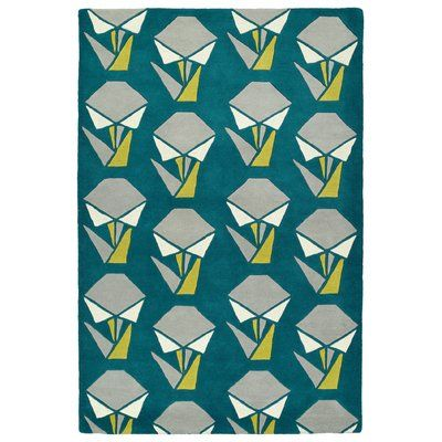 "Varick Gallery Ronnie Hand-Tufted Teal Area Rug Rug Size: 3'6"" x 5'3"""