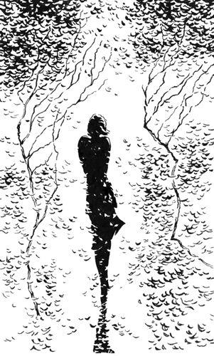 одинокая девушка - графика