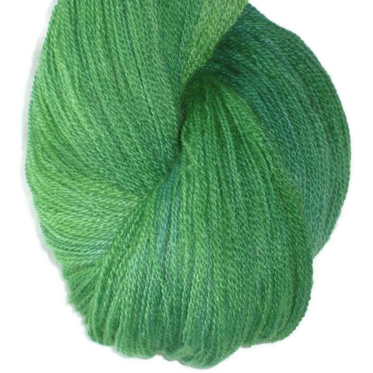 """Hand Dyed Merino Wool Lace Yarn, 2-ply Green Bluegreen """"Green, Green Grass of Home"""""""