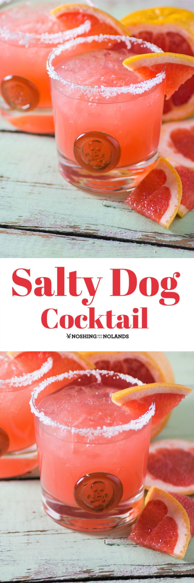 Salty Dog Cocktail by Noshing With The Nolands is an easy to make libation with its salty rim and sweet and tart flavor!