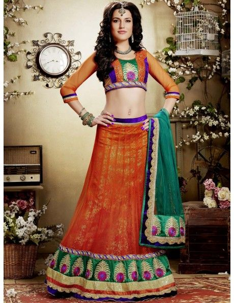 Bharat plaza gives you a complete outlook on the latest bridal lehenga. Orange Net Kalidar Lehenga. http://www.bharatplaza.com/women/lehengas.html