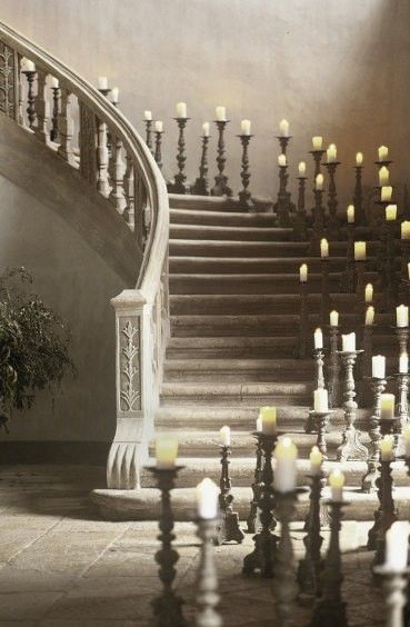 Candles, candles all over the stairs: Candlesticks, Inspiration, Stairs, Romances, Propo Idea, Dark Shadows, Stairways, Heavens, Provence France