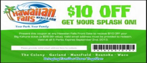 Hawaiian falls discount coupons