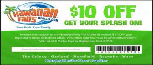 Hawaiian falls coupons discount
