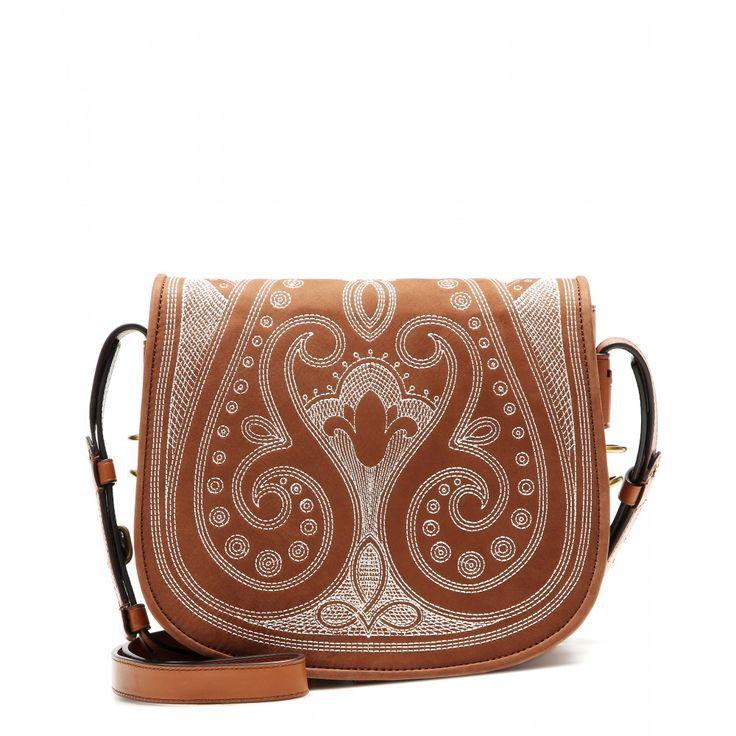 Tory Burch - Embroidered suede shoulder bag - Tory Burch takes a saddle-bag shape and embroiders it to feminine perfection for a girly-boho fusion. The tan-hued suede design features delicate embroidery in off-white thread, and has plenty of room for all of your daily essentials on busy days in the city. seen @ www.mytheresa.com